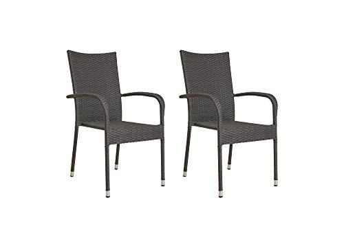 HOMEXPERTS Garten 2er Set Jamaika/Polyrattan-Geflecht in Mix-Grau/Stühle für den Outdoor Bereich/Gestell Metall/Stapelbar/Sitz-Gruppe / 55,5x95x63cm (BxHxT)