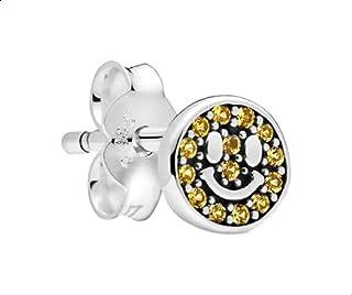 حلقان اذن بريمة من الفضة الاسترليني مزين بالكريستال على شكل دائري للنساء - فضي
