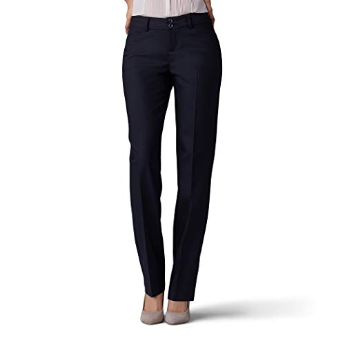Lee Women's Secretly Shapes Regular Fit Straight Leg Pant, Black, 14