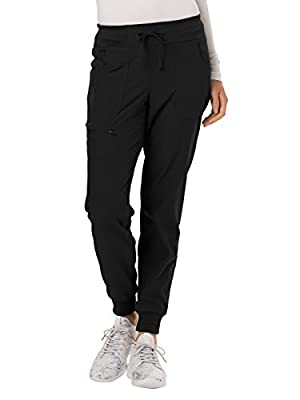 HeartSoul Low Rise Tapered Leg Jogger Scrub Pant, Black, Small Petite