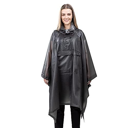 Navaris Poncho Impermeabile Donna Uomo - Mantella Antipioggia con Astuccio Portatile - Giacca Incerata Anti Pioggia da Viaggio - Nero Trasparente