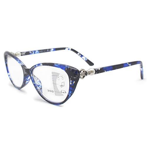 KOOSUFA Damen Gleitsichtbrille Progressive Multifokus Lesebrille Anti-Blaulicht Katzenaugen Hornbrille Sehhilfe Lesehilfe TR90 Anti Müdigkeit Brille 1,0 1,5 2,0 2,5 3,0 3,5 (Blau, 2.5)