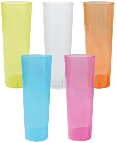 TELEVASO - 1000 Unidades - Vaso Tubo 330 ml Reutilizable Ligero - Polipropileno (PP) - Colores Surtidos - Vaso ecológico Libre de BPA, Ideal para Cerveza, cubatas, Agua