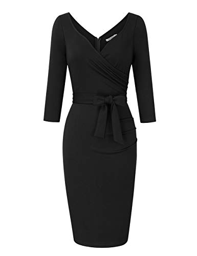 KOJOOIN Damen Elegant Etuikleid Festliche Abendkleider Cocktailkleid Knielang Business Kleider Schwarz (Langarm) 【EU 38-40】/M