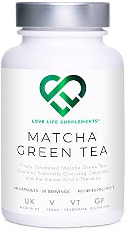 Love Life Supplements - Japanischer Matcha Extrakt, Grüntee Extrakt, starkes Antioxidant, 60 Kapseln