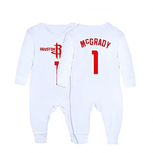 AXTMR Traje de Arrastre para bebé, Pijama de una Pieza para bebé con Cobertura, Adecuado para Camisetas de Baloncesto para bebés recién Nacidos de 3 a 15 Meses, 24 Estilos,McGrady-White,66CM