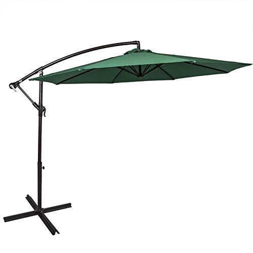 Sundale Outdoor 10 Feet Aluminum Offset Patio Umbrella with Crank, 8 Steel Ribs (Dark Green)