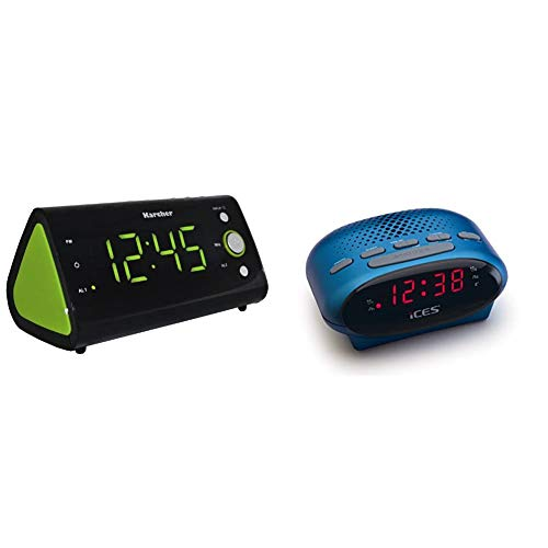 Karcher UR 1040-G Uhrenradio (PLL-Radio, Temperaturanzeige, Dual-Alarm) schwarz/grün & ICES ICR-210 Uhrenradio (2X Weckzeiten, Schlummerfunktion, Sleeptimer) blau