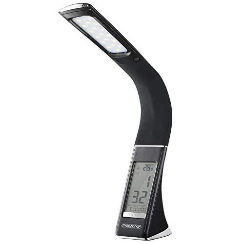 Monzana LED Schreibtischlampe Schwarz Tischleuchte Schreibtischleuchte Tischlampe Leselampe mit Kalender Uhr Thermometer