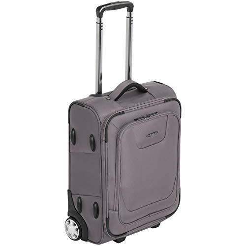Amazon Basics - Bagaglio a mano espandibile, morbido, con chiusura TSA e rotelle, 55 cm, grigio