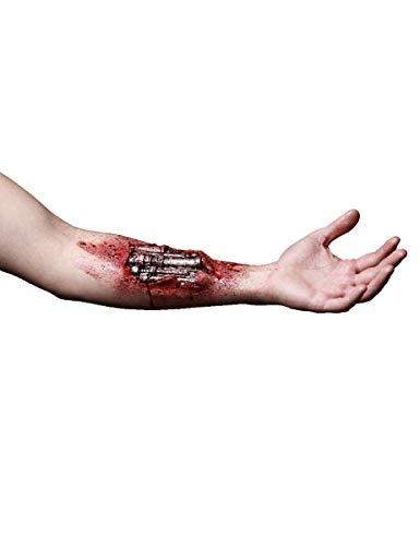 Partychimp Offener Cyborg-Arm Terminator Genisys Latexapplikation rot Einheitsgröße
