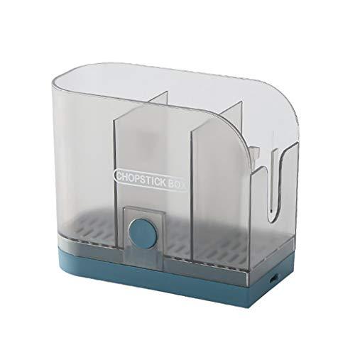LOVIVER Soporte de utensilios de cocina con ganchos y soporte colgante, soporte de almacenamiento de palillos soporte de cocina para organizador de tenedor - Azul