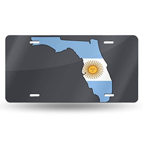 BRIGHT JUNAY Florida Map Puerto Rico Flag Retro License Plate Aluminum Metal License Plate 6 Inches X 12 Inches