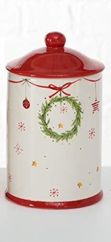 Keramik Vorratsdose Keksdose Weihnachten rot weiß Weihnachtskranz H21cm D12cm