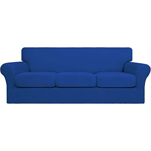 Easy-Going 4 fundas de sofá elásticas suaves para perros – Funda de sofá lavable para 3 cojines separados – Protector de muebles elástico para mascotas, niños (sofá, azul clásico)