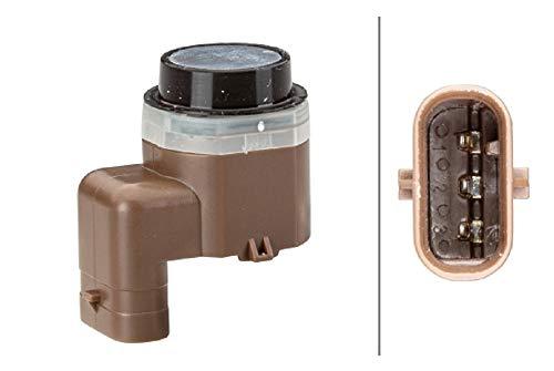 HELLA 6PX 358 141-321 Sensor, Einparkhilfe - gewinkelt - 3-polig - gesteckt - lackierbar - mit Befestigungsring