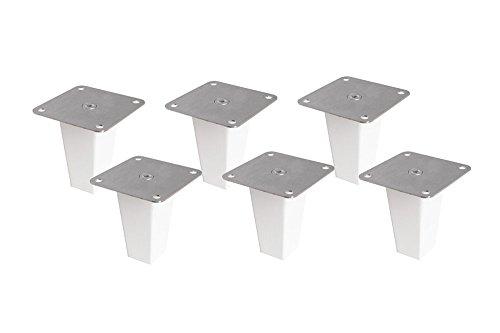 6 x Möbelfüße aus Holz für Kallax Regal/Möbelbeine Regalfuß Möbelfuß/massive Buche (weiß lackiert) wasserabweisend/inkl. Montageplatte Montagematerial Anleitung/Höhe 10 cm/Pyramid