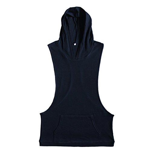 MagiDeal Uomini Sexy Canotta Gilet Top T-shirt Con Cappuccio Sportivo Abbigliamento - Nero, S
