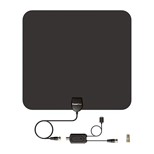 PowerBear TV Antenna [80 Mile Range] HD, Digital, Indoor with Amplifier [16ft Cable]
