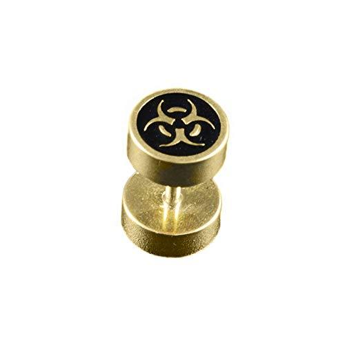 BlackAmazement 316L Edelstahl Fake Plug Piercing Ohrstecker Biogefährdung Biohazard Symbol Warnzeichen 8mm Gold schwarz Herren Damen