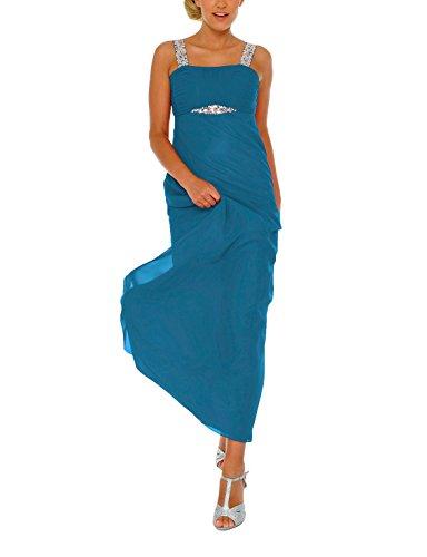 Astrapahl Damen Cocktail Kleid mit Pailletten, Maxi, Einfarbig, Gr. 44, Türkis