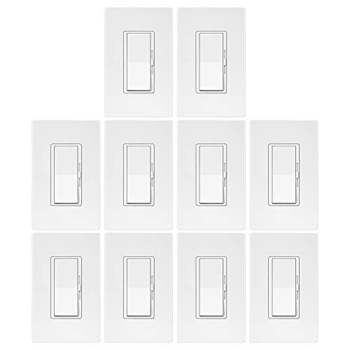 10 Pack - ELECTECK Single Pole/3 Way Dimmer Light Switch for Dimmable LED/Halogen/Incandescent Bulbs, Universal Lighting Control, Screwless Wallplate, UL Listed, White