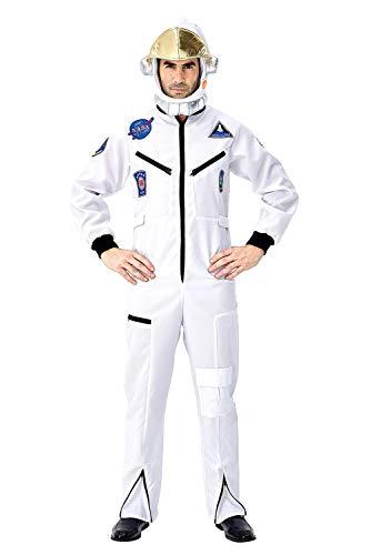 Tollstore Herren Astronaut Kostüm Weltraum Raumfahrer Astronauten-Anzug Spaceman Overall Outfit Weiß L