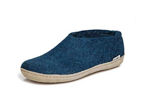 glerups dk A Shoes Unisex - Erwachsene Filz-Hausschuh, Damen,Herren Huettenschuhe,Filz-Schuhe,Filz-Pantoffel,Pantoletten,Puschen Blau, 39 EU / 6 UK