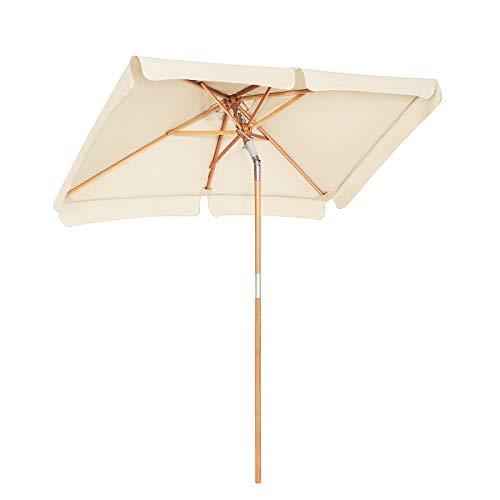 SONGMICS 200 × 125 cm Holz-Sonnenschirm, Marktschirm, UV-Schutz UPF 50+, Gartenschirm, Terrassenschirm, Sonnenschutz, ohne Ständer, für Garten, Balkon und Terrasse, Beige GPU26BE