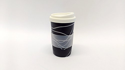 A pair black with white swirls handmade to-go/travel cups for home, car or coffee shop use. Silicone lid and cuff, porcelain body. dishwasher proof. 12-14 oz. (2cups)