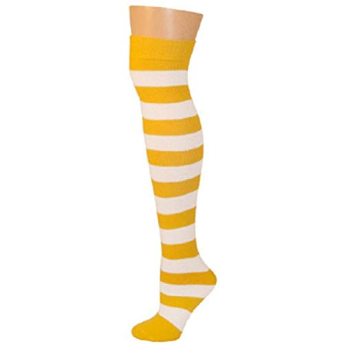 AJs Adult Long Knee High Striped Socks, Sock size 11-13, Shoe Size 5 and up, Made in USA