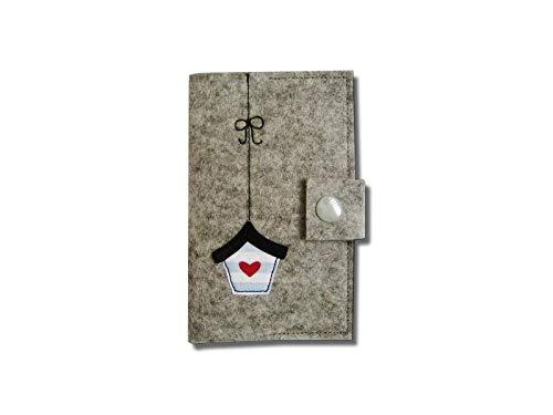 Visitenkartenetui/EC-Karten/Etui aus Wollfilz, hellgrau, verschließbar,schmutz-und wasserabweisend, Motiv Vogelhaus