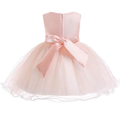 FYMNSI Vestido de niña para fiesta de cumpleaños o bautizo, con lazo, tutú de princesa, dama de honor, vestido de verano, 0 a 24 meses, Rosa., 0-3 Meses