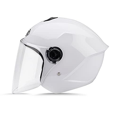 LIONCIANO Metà Aperto Faccia Casco Del Motociclo Con Visiera Riflettente,Casco Modulare Scooter,l'Anti-Collisione Protegge La Sicurezza Stradale Degli Utenti(Bianca)