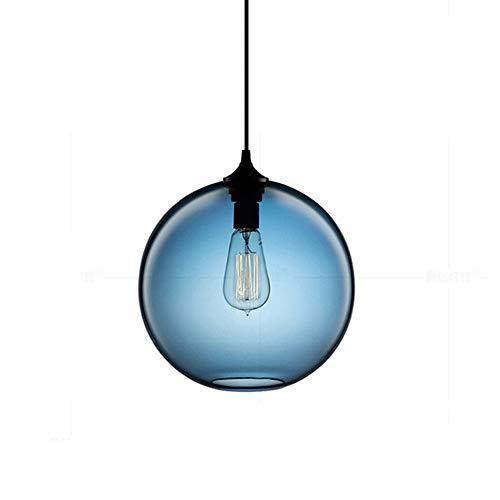 I-Xun - Lámpara de techo de cristal esférica de estilo vintage, con jaula colorida