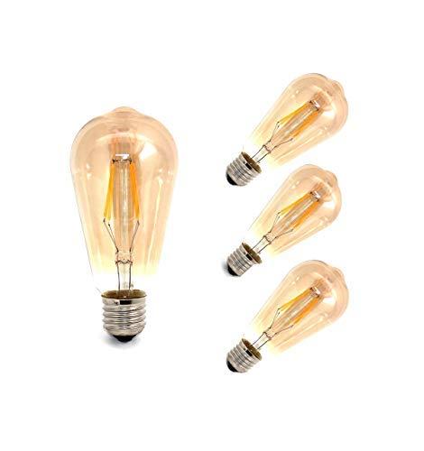 TECNOLUX EURO -LED Ampoules Filament Poire 4W E27 Hot 3000K 4 (Pack)