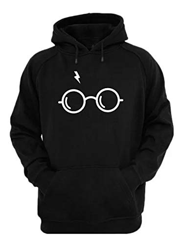 Moletom Blusa Canguru Harry Potter Óculos (M, Preto)