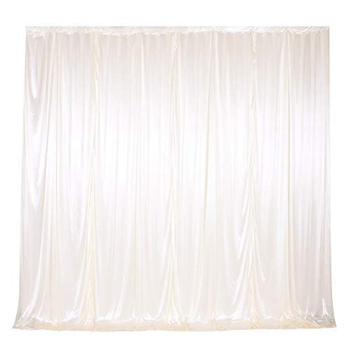 SweetEasy 10 ft x 10 ft Photography Backdrop Drapes Curtains Wedding Backdrop, for Baby Shower Birthday Home Party Event Festival Restaurant Reception Window Decor Polyester Milk White