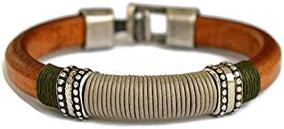 Bracciale su misura in pelle marrone e argento zamak per gli uomini, bracciale in pelle liquirizia, gioielli per lui,...