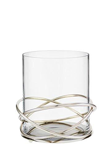 Kaheku Windlicht Crowne Edelstahlobjekt mit Einsatz eines Glaszylinders, Durchmesser 20 cm 99990362
