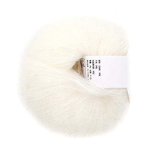 Hilo de lana largo de angora multicolor popular Hilo de tejer suave Mohair Pashm para tejer bufandas(Blanco)