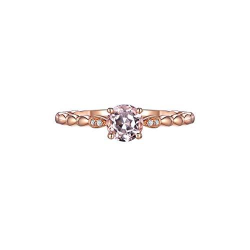 AueDsa Anillo de Mujer Morganita Anillo Mujer Oro 18K/Oro Rosa 18K/Oro Blanco 18K Redondo Morganita Rosa 0.53ct Diamante 0.01ct Talla 8