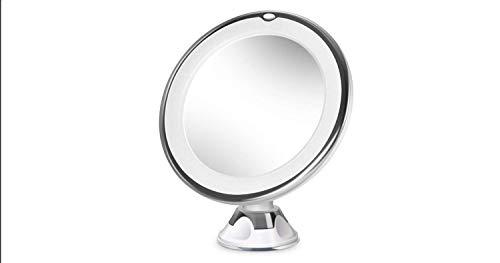 Xiaotti Circular Make Up Vergrootspiegel 10x Vergroting Scheerspiegel met 16 LED-lampen, Locking Suction draagbare badkamerspiegel, 360 ° rotatie