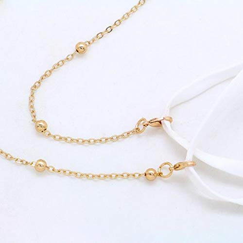 Lozeguyc Lanyard for Face Mask Cover Bling Beauty Fashion Face Mask Strap Cute Gold Chain Face Mask Lanyard for Girls Women Anti-lost Handy Holder-Gold