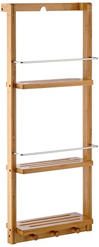 Relaxdays Wall-Mounted Bathroom Rack, with 3 Shelves and 3 Hooks, Bamboo, Includes Rail, Natural Brown