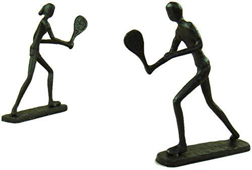 JLXQL Statue Soprammobile Statuine Gli Amanti del Tennis Decorativo Figurine Fatti A Mano Fonderia Ferro Badminton Giocatori Miniature Mestieri per La Decorazione Domestica