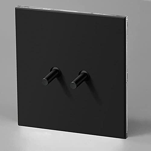 Ploutne Cambiar el panel de acero inoxidable mate Negro Inicio 86 Tipo Interruptor de palanca retro 1-4 Gang Way 2 Way Toggle Toggle Light Switch 10A 110V-220V Interruptor de control doble para sala d