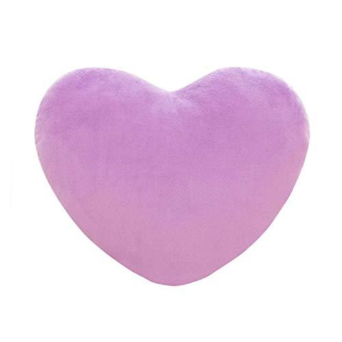 Cojín de peluche en forma de corazón, relleno mullido y mullido, para bodas, San Valentín y compromiso para niños, niñas, sofá, coches, dormitorio, tamaño 15, 20 y 30 cm (lila, 20 x 30 cm)