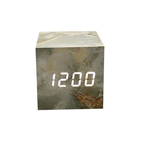 Zarupeng Digitale houten led-wekker, draagbare reiswekker, alarmwekker, temperatuurtijd en datumdisplay, USB-digitale klok, spraakbesturing, snoozefunctie