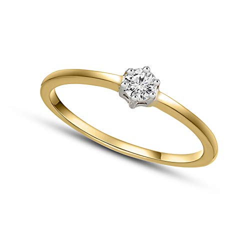Diamante Naturale 0.14ct Anello Di Diamante Per Le Donne I2-Chiarezza 9k Oro Regali Di Gioielli Con Diamanti Per Le Donne Colore GH 100% Anello Di Diamante Reale
